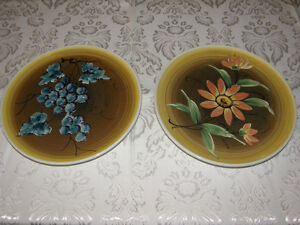 """2 Decorated Hand-Painted Plates Bought In Italy 10"""" Inches Round"""