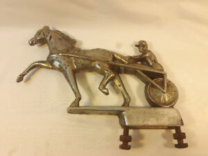 Vintage Chrome Horse and Sulky Harness Racing Hood Ornament