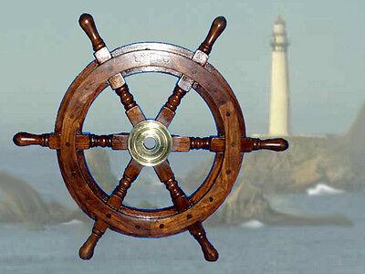 Hochwertiges Steuerrad Schiffssteuerrad aus Hartholz 48cm Durchmesser
