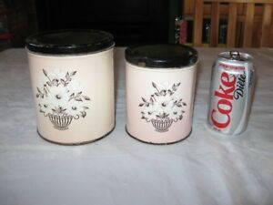 VINTAGE TIN CANNISTERS - 2 SETS - REDUCED!!!