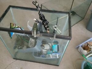 one Fish tank with lid, light, heater, pebbles