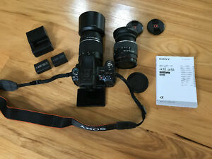 Sony a55 camera, two lenses