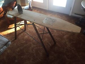 Vintage ironing board and iron