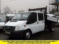 2011 FORD TRANSIT 350/115 DOUBLE CREW CAB ALLOY TIPPER WITH ONLY 51,000 MILES,1