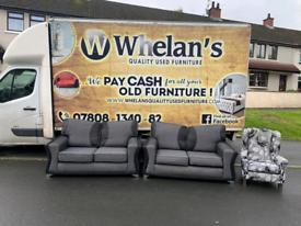 2 2 seater sofas in black &grey fabric £299-Queen Ann armchair £75