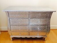 Shabby chic silver embossed metal drawer