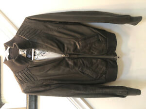 Mackage Dark Gray Leather Jacket size SM