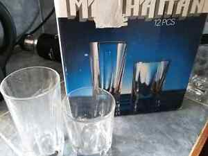 11 crystal drinking glasses, new