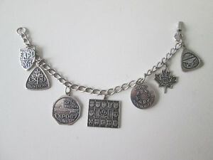 EXPO 67 MAN AND HIS WORLD SILVER CHARM BRACELET
