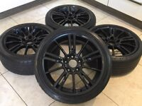 "18"" BMW MV3 STYLE ALLOY WHEELS GLOSS BLACK 8J ET35 313 MV4 MV2 1 3 5 SERIES"