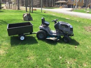 """42"""" Yardworks 420cc Lawn Tractor with dump cart"""