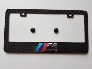 Carbon Fiber License Plate Frame With BMW M Emblem