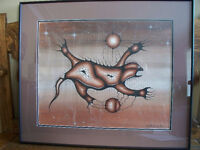 BILL GEORGE NATIVE ART SIGNED LARGE PAINTING