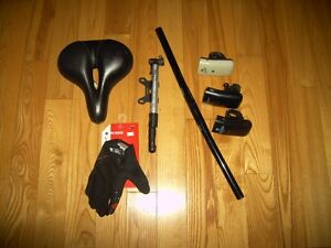 Bicycle parts, Kore Lite bars,Raleigh seat, Specialized Gloves