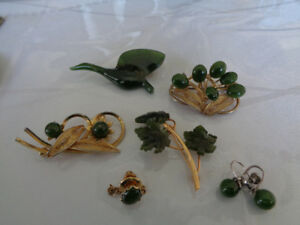 Genuine Jade Pins and Earrings