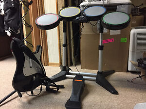 Rockband Wired Drums w/ Foot Pedal and Wired Guitar Xbox 360