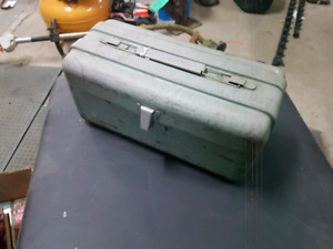 Vintage metal fishing tackle box