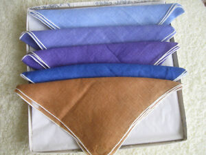 FIVE 100% COTTON VINTAGE COMPANION HANKIES from the '60's