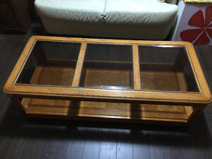 Oak Coffee Table & 2 End Tables