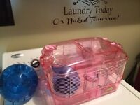 Pink Hampter cage, wheel and exercise ball