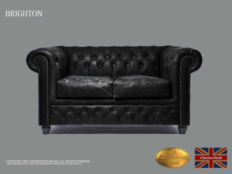 Chesterfield Sofa -The Chesterfield Brand Authentic -2 seats-Vintage black -Real leather-HANDMADE