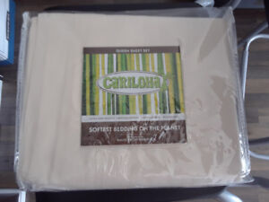 Brand New Set of Queen Size Cariloha Beige Bed Sheet Set