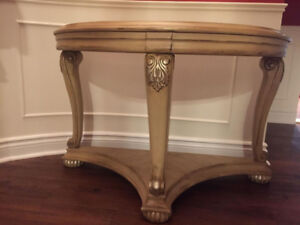 HALF ROUND SOFA END ACCENT TABLE CONSOLE ASHLEY FURNITURE