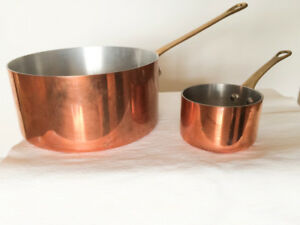 Vintage Copper Saucepan with Brass Handles