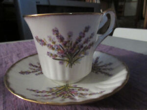 Newhall China Cup and Saucer Lavender Design Made in England