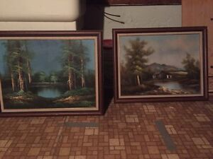 Framed canvas paintings