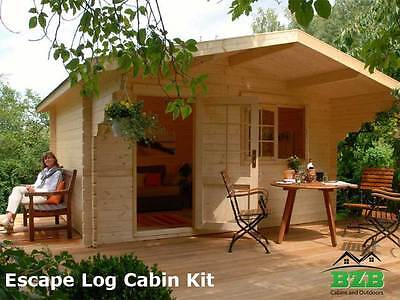Bzb Escape Log Cabin Kit 12x9inside 113 Sqf 1-34 Logs Free Shipping