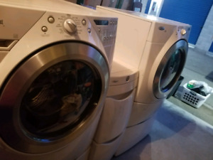 **$500 OBO** Whirlpool Fr Load W/D w pedestals & center storage