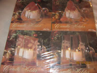 4 NEW Christmas Glass Mirror Candle Holders. BRAND NEW
