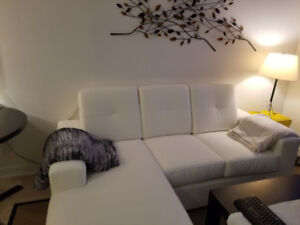 Leather Look, Sofa Chaise, New, White, Contemporary Style