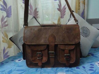 Vtg Oiled Leather Crossbody Messenger Bag Handmade Briefcase Bag Laptop attache