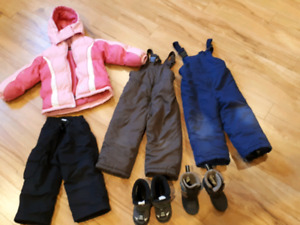 3T Snowsuits and size 8 boots