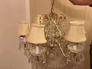 Vintage brasss and crystal chandelier