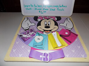 MINNIE MOUSE PUZZLE-LEARN TO DO BUTTONS, ZIPPERS, SNAPS, LACES