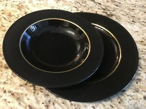"MIKASA ""Galleria Matrix Black"" Fine China Dinner Ware Dishes"
