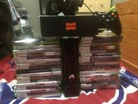Xbox 360 slim with 250 gb and 34 GAMES AND ACCESSORIES