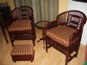 """""BOMBAY """" Bamboo SET -- 2 chairs -- table -- foot stool"
