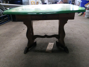 Old Wooden Table Spring Loaded Metal Top and Middle Divider