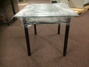 Glass square end table