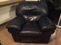 Navy reclining leather armchair