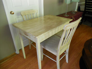 Vintage Freshly Painted Apartment Size Dining Table & 2 Chairs.