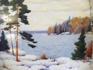 "Original Watercolor by William Blackwood, ""Winter Study"" 1930 Stratford Kitchener Area image 10"
