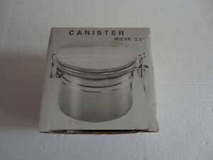 Brand new in box stainless steel canister with wooden lid London Ontario image 1