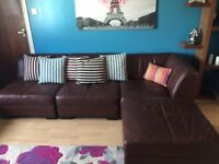 Brown leather 7 piece corner couch