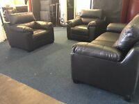 Black leather three piece suite 3 seater sofa and 2 armchairs cheap bargain