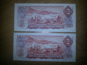 RARE 1974 2$ BILL MINT UNCIRCULATED ONLY 19$ EACH............... London Ontario image 2